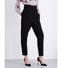 Topshop Unique Tapered Super High Waist Stretch Wool Trousers Black