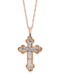 Macy's Diamond Antique Cross Pendant Necklace In 14K White Yellow Or Rose Gold 1 10 Ct. T.W