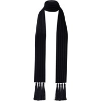 River Island Womens Black Velvet Tassel Long Scarf