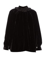 Fendi Ruffled Collar Velvet Blouse Black