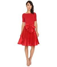 Nue By Shani Full Fashioned Knit Dress With Dupioni Skirt Red Women's Dress