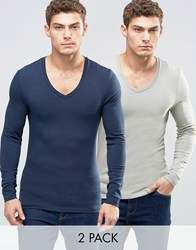 Asos Extreme Muscle Long Sleeve T Shirt With V Neck 2 Pack Multi