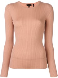 Theory Round Neck Fine Knit Jumper Pink And Purple
