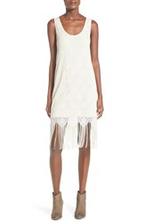 Painted Threads Fringe Trim Shift Dress Silver Eggshell