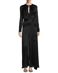 L'agence Lorena Crinkle Front Satin Gown