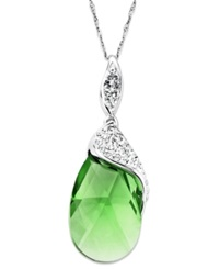 Kaleidoscope Sterling Silver Necklace Green Crystal Pendant With Swarovski Elements