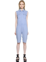 Kai Aakmann Sleeveless Cotton Denim Romper Blue