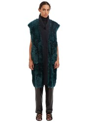 Drome Long Reversible Lamb Fur Wool Gilet Green