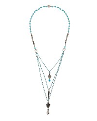 Love Heals Layered Turquoise Hued Beaded Pendant Necklace Women's