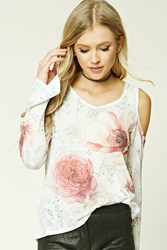 Forever 21 Floral Print Open Knit Top Ivory Pink