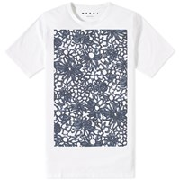 Marni Flower Print Oversized Tee Blue