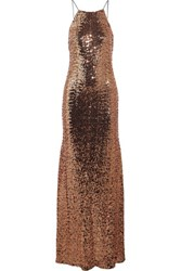 Badgley Mischka Sequined Tulle Gown Copper