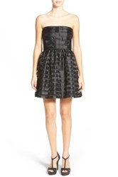 Frenchi Stripe Strapless Party Dress Black