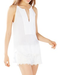 Bcbgmaxazria Mery Stitched Placket Halter Top White