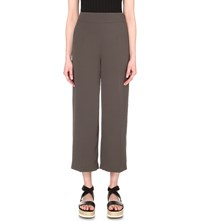 Whistles Fluid Cropped Crepe Trouser Khaki Olive