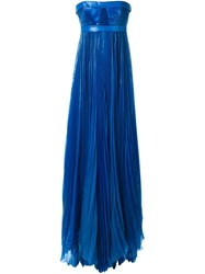 Dsquared2 Pleated Empire Line Gown Blue