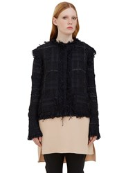 Lanvin Fringed Tweed Cardigan Navy