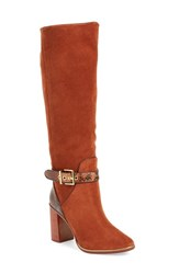 Ted Baker Women's London 'Niida' Knee High Ankle Strap Boot Tan Suede
