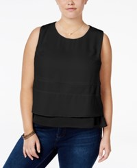 Standards And Practices Trendy Plus Size Tiered Top Black