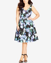 City Chic Plus Size Floral Print Flare Party Dress Black