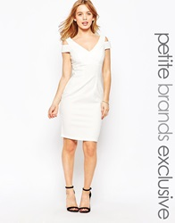 Paper Dolls Petite Bodycon Dress With Cold Shoulder White