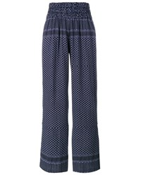 Cecilie Copenhagen Keffiyeh Cotton Trousers Black Blue Denim