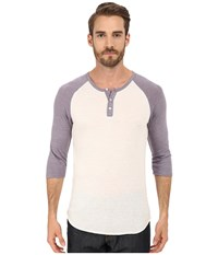 Alternative Apparel 3 4 Raglan Henley Eco Ivory Eco True Purple Dusk Men's Long Sleeve Pullover White