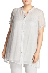 Plus Size Women's Eileen Fisher Linen Mesh Mandarin Collar High Low Tunic Shirt Silver