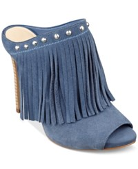 Guess By Marciano Guess Women's Ara Fringe Mules Women's Shoes Blue Suede