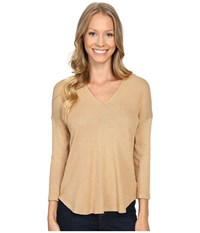 Bobeau Millie V Neck Knit Top Camel Women's Clothing Tan