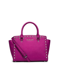 Michael Kors Selma Studded Saffiano Leather Satchel Fuchsia