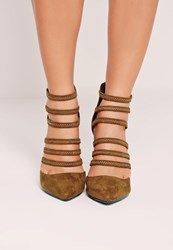 Missguided Elastic Strap Court Shoes Olive Green Olive
