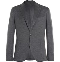 Boglioli Grey Slim Fit Woven Cotton Blazer Gray