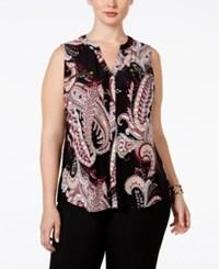 Inc International Concepts Plus Size Printed Zip Pocket Blouse Only At Macy's Empire Paisley
