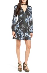 Astr Women's 'Mabel' Fit And Flare Dress Green Blue Floral