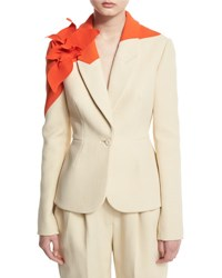 Delpozo Colorblock Jacket W Floral Applique Natural White
