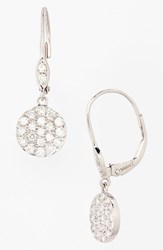 Meira T Women's Meirat 'Dazzling' Diamond Disc Drop Earrings White Gold