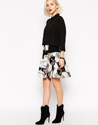 L.A.M.B. L.A.M.B Photographic Rose Print Skater Skirt Black