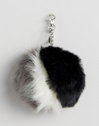 Urbancode Faux Fur Stripe Pom Pom Keyring Bag Accessory Black White Grey