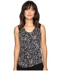 Calvin Klein Jeans Printed Lace Pieced Sleeveless Knit Shirt Black Women's Short Sleeve Knit
