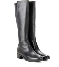 Tory Burch Caitlin Stretch Leather Knee High Boots Black