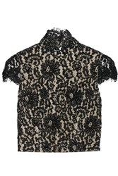 Alice Olivia Marcy Cropped Open Back Embellished Lace Top Black