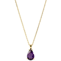 Ewa 9Ct Yellow Gold And Amethyst Pendant Necklace