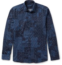 Etro Slim Fit Paisley Print Washed Cotton Shirt Blue