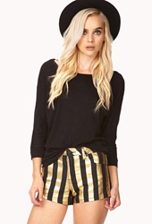 Forever 21 Standout Metallic Striped Shorts Black Gold