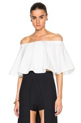 Rosetta Getty Off The Shoulder Circle Top In White