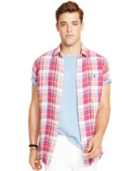 Polo Ralph Lauren Short Sleeved Checked Linen Shirt Red And Yellow