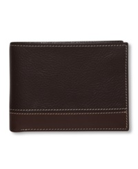 Perry Ellis Premium Leather Sheridan Bifold Wallet Brown