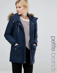 Noisy May Petite Parka Jacket With Faux Fur Trim Hood Navy