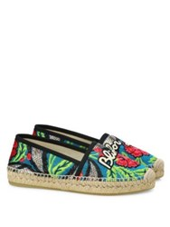 Gucci Pilar Blind For Love Embroidered Floral Brocade Espadrilles Green